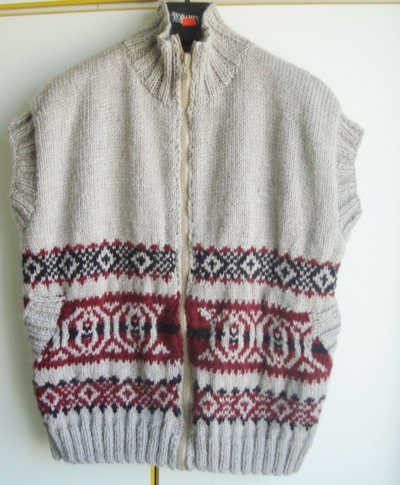 Hand Knit Mens Vest Mens size xxxl Sweater Vest fathers day fishing Dad Gift