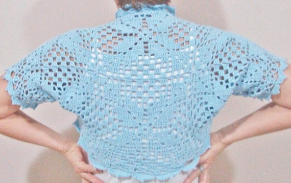 Crochet Blue Wedding Bolero, Blue Wedding Shrug Bridal Bridesmaids Bolero Shrug