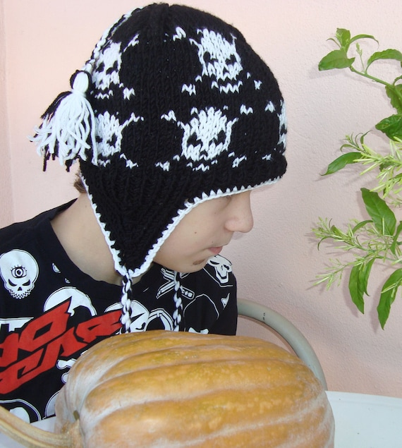 Skull Knit Hat, Womens Hat, Womens Accesories, Ear flap Hat, Winter Fashion wool black