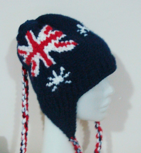 australia flag hat for womens hat with ear flap knit