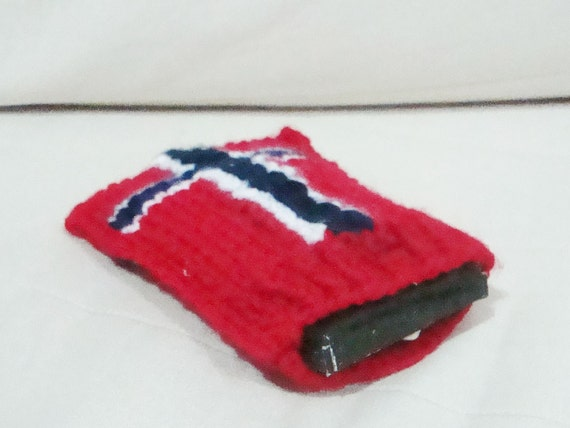 Hand knit iphone case, Norwegian Flag, iphone 4 case, Norway Gift Under 20