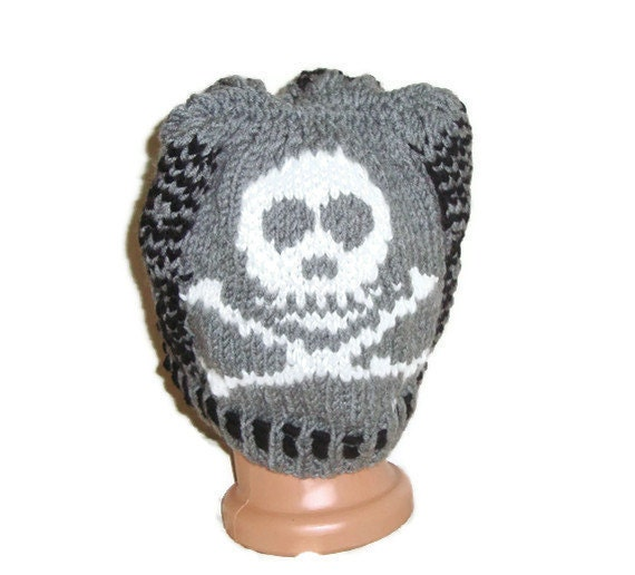 Knitted Skull Hat Pattern : Skull Knit Beanie Hat Ouirky Knitted Skull Hat by earflaphats