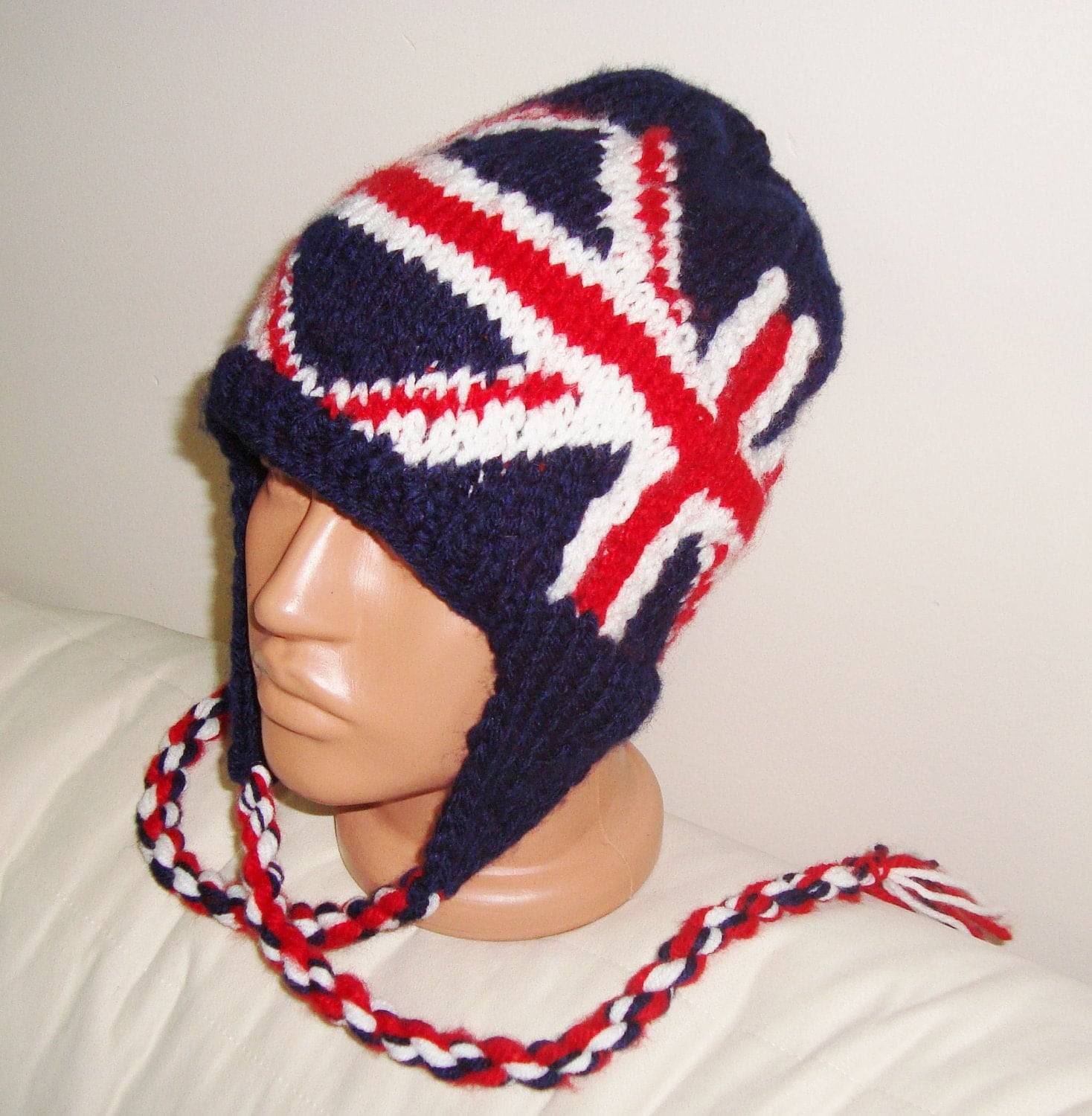Knitting Pattern For Union Jack Hat : Union Jack British Flag Hat Hand Knit Womens Hat by earflaphats