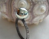 Hammered Sterling Silver and Metallic Glass Ring