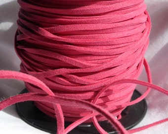 5 Yards- Hot Pink Suede Cord
