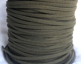3 Yards- Army Green Suede Cord