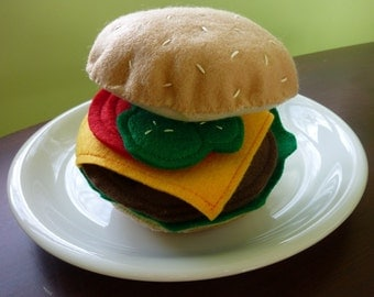 Burger w/ the Works - Felt Play Food