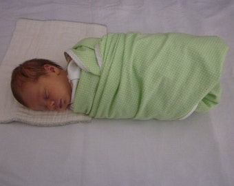 Extra Large Swaddle Blanket - Green with White Polka Dots Print