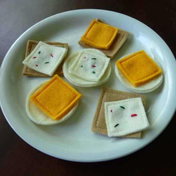 Cheese and Crackers - Felt Play Food