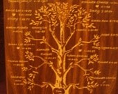 Family Tree, Engraved by hand!  Beautiful Wood