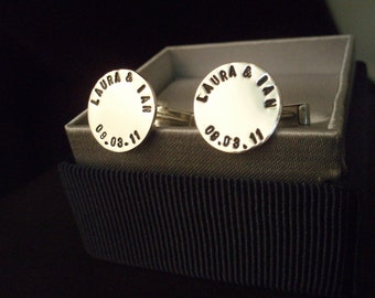 Cufflinks, Personalized GPS coordinates, Sterling Silver, Hand Stamped