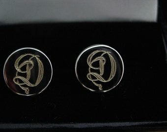 Sterling Silver Cufflinks, Custom Hand Engraved  Monograms or your initials
