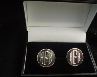Sterling Silver Cufflinks, Retro Engraved,  Monograms or your initials