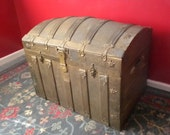1800s Antique Victorian Dome Top Turtle Back Steamer Trunk
