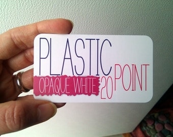"100 White Plastic Business Cards (2"" x 3.5"")"