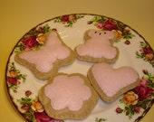 FELT PLAY FOOD- Sugar Cookies with Royal Icing - PINK
