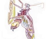 Moth Butterfly painting - mauve / magenta / purple / crimson