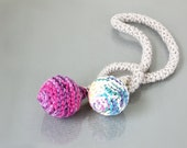 RESERVED - 3rd payment - textile necklace in light grey / pink / white / purple / magenta