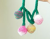 textile necklace - tribal pod necklace in forest green / pink / white / gold