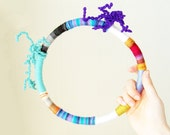 candy necklace - textile necklace - geometric - blue / purple / black / red / stripes