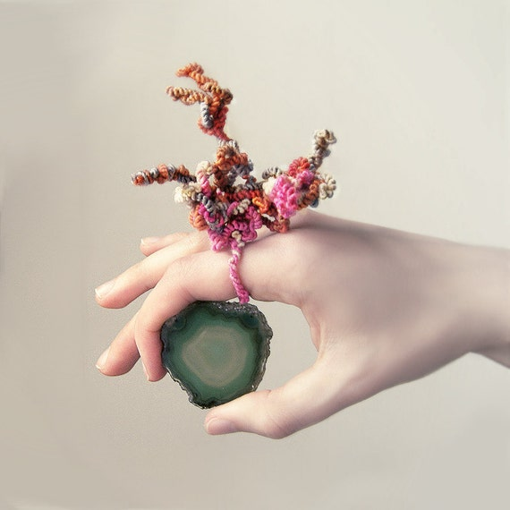 textile ring - freeform coral fiber ring - contemporary textile artist Mandy Besek