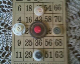 Vintage Shabby Chic Shell Button Bingo Card