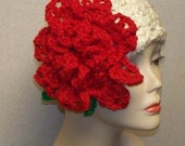 Who's that lady Headband Earwarmer with Blooming Rose Flower in Cream and Red