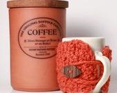 Vivid Orange Tangerine Carrot Burnt Orange Coffee Mug Cozy Travel Mug Sleeve with Gorgeous Exotic Wooden Tree Branch Button