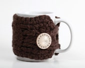 Cute As a Button Coffee Brown Chocolate Brown Coffee Mug Cozy Travel Mug Sleeve with Gorgeous Latte Cream Button