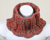Clearance Black Friday Cyber Monday Sale - was 45 - Grey and Burnt Orange Chunky Wool Blend NeckWarmer Scarflette Cowl