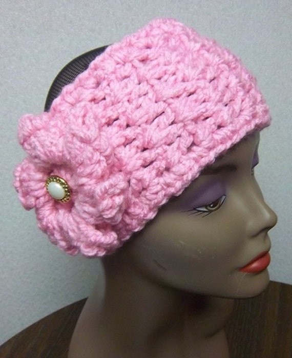 Crochet Knit Chunky Pink Ear Warmer Headband Adjustable and