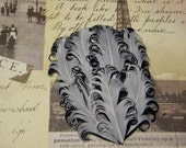 White and Black Curly Feather Pad