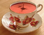 Teacup Candle - Grosvenor Red Floral Bone China Soy Wax Tea Cup Candle - your choice scent