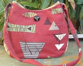SALE 35% off. Atomic Hobo Bag. Red. Retro. Large.
