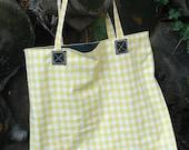 Yellow Check Tote. Farmers Market Bag.