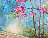 Original Oil Painting-Orchids 9x12 Modern, Contemporary, Palette Knife 9x12
