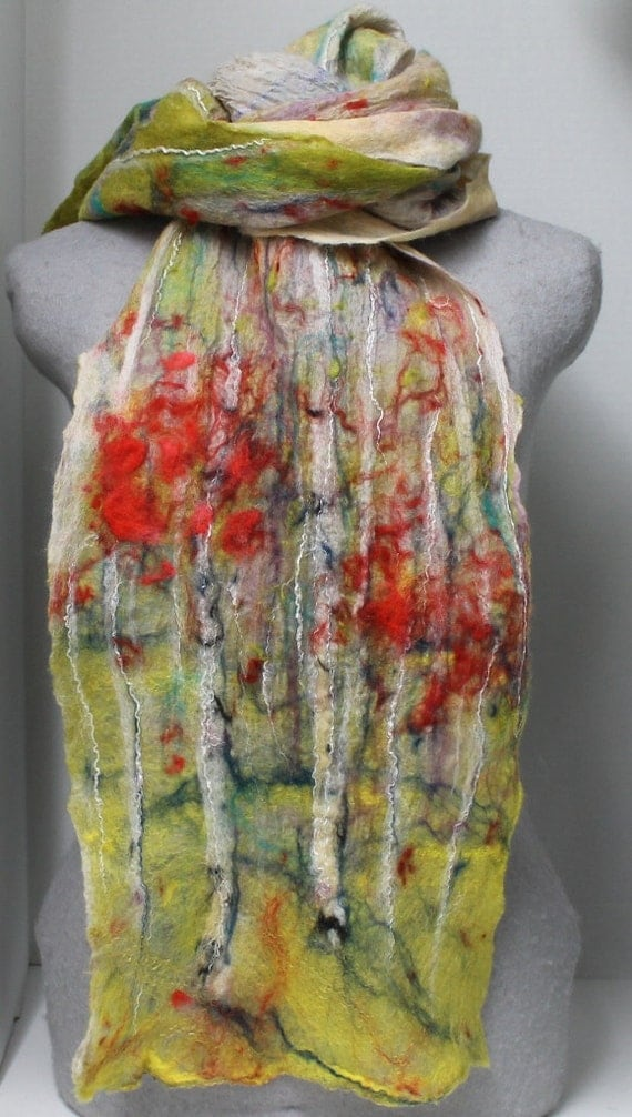 Fall Around Your Neck- Nuno Felted Scarf