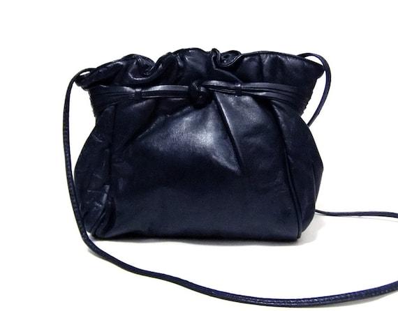 Vintage 50s Midnight Blue Leather Clutch Handbag