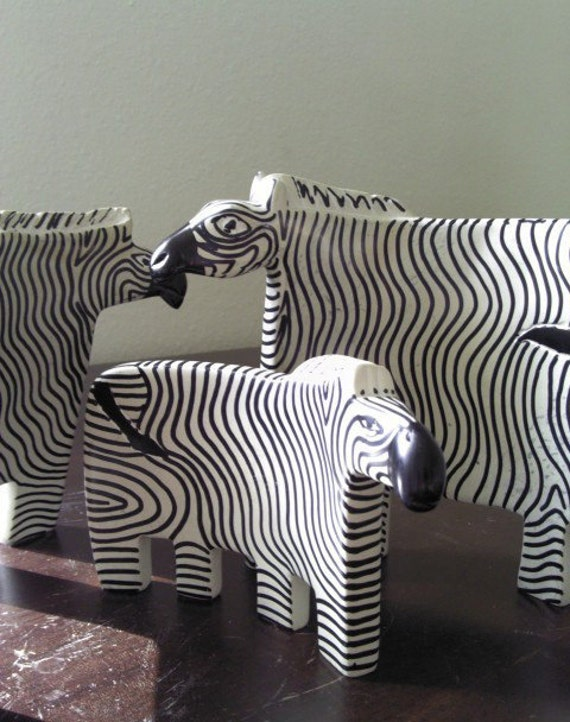 Vintage 60s Black and White Zebra Figurine Sculpture Set