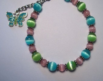 Spring Pastels Butterfly Charm Handmade Bracelet Pink Green Blue