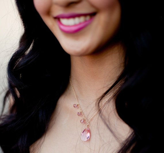 Bridesmaid Jewelry Set Crystal Earrings and Necklace - Asymmetrical Style