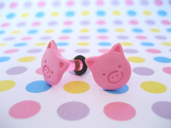6g 6 gauge Plug Earrings for Stretched Ear Lobes - Pink Pigs
