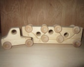 durable Wooden Puzzle Toy Truck semi car hauler handmade toddler baby