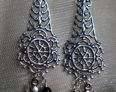 Itsy Bitsy Spider gothic filigree web earrings with black tourmaline