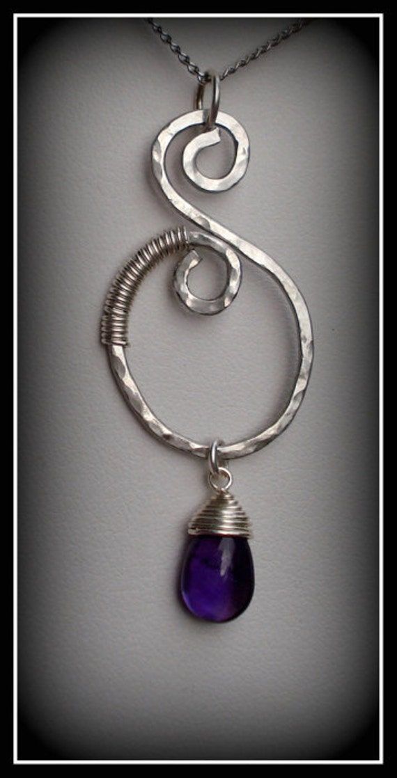 Tear of Dionysus AAA amethyst, sterling wrapped, hand-twisted and hammered stainless steel necklace.