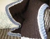 """My 1st """"Wubby"""" Security Blanket -- ORGANIC COTTON -- """"Little Boy Blue"""" --Baby/ Toddler. Stroller, car seat or Doll Blanket"""