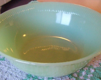Fire King Jane Ray Jadeite Serving Bowl Green Glass Vintage Jadite Vegetable Bowl