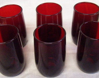Vintage Anchorglass Anchor Hocking Fire King Royal Ruby Red Juice Glass Tumbler Set of 6