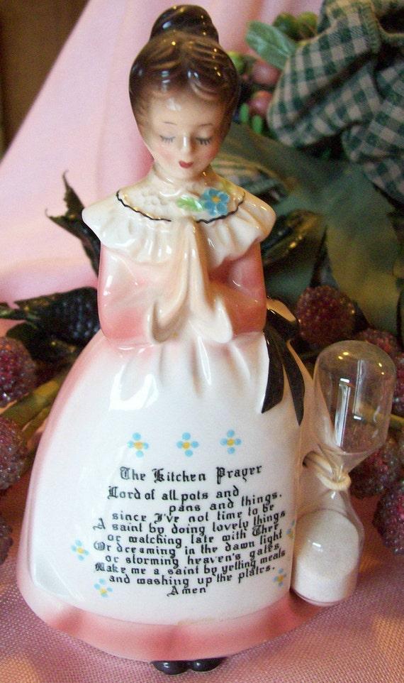 Vintage Enesco Prayer Lady Timer The Kitchen Prayer Figurine