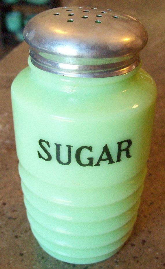 Vintage Jeannette Jadite Jadeite Glass Sugar Shaker